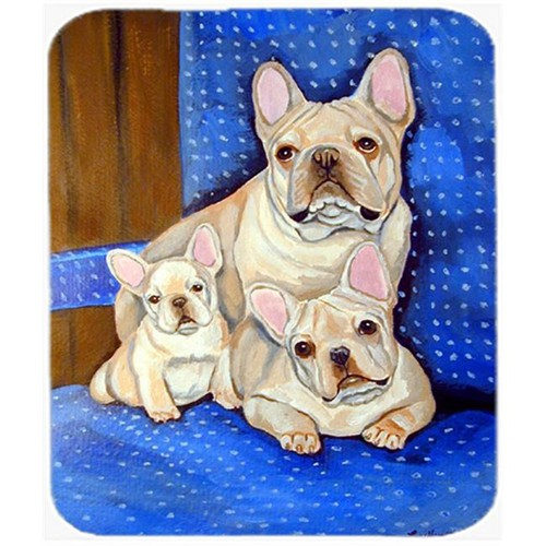 Carolines Treasures 7055MP 9.5 x 8 in. White Frenchies in Mommas Chair French Bulldog Mouse Pad Hot Pad or Trivet