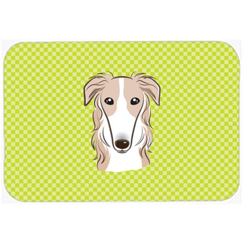 Carolines Treasures BB1290MP Checkerboard Lime Green Borzoi Mouse Pad Hot Pad Or Trivet 7.75 x 9.25 In.