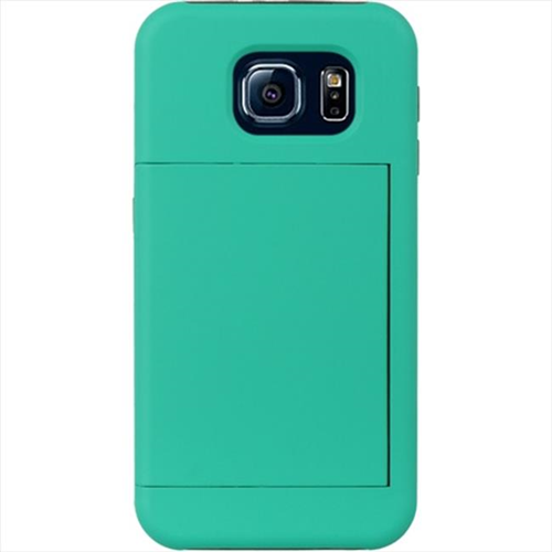 DreamWireless SCRSAMS6-CDSTD-BKTL Samsung Galaxy S6 Standed Card Case Black Skin With Teal Rubber Case