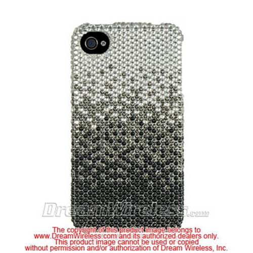 DreamWireless IP-FDIP4CASLBK iPhone 4S & 4 Compatible Full Diamond Case - Cascade Silver Black