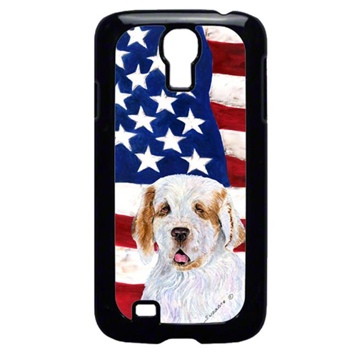 Carolines Treasures SS4027GALAXYS4 USA American Flag with Clumber Spaniel Cell Phone Cover GALAXY S4