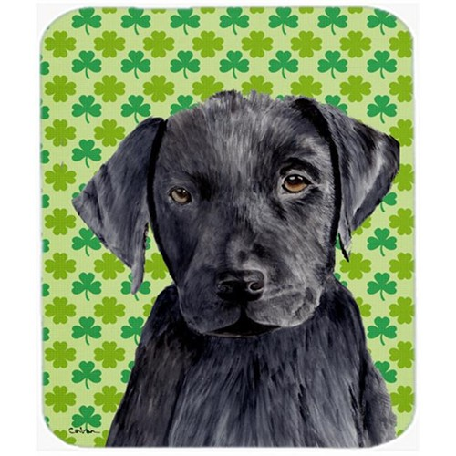Carolines Treasures SC9284MP Labrador Black St. Patricks Day Shamrock Portrait Mouse Pad Hot Pad or Trivet