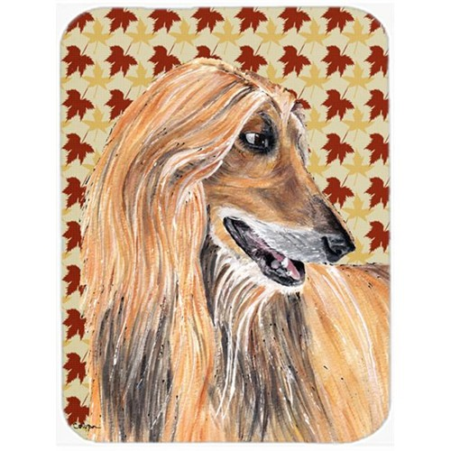 Carolines Treasures SC9504MP 7.75 x 9.25 In. Afghan Hound Fall Leaves Mouse Pad Hot Pad Or Trivet