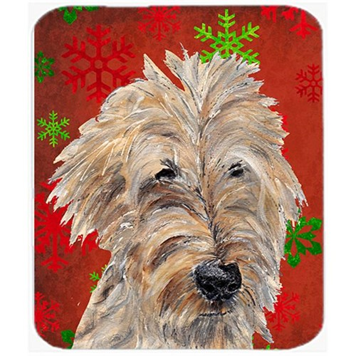 Carolines Treasures SC9591MP 7.75 x 9.25 in. Goldendoodle Red Snowflake Christmas Mouse Pad Hot Pad or Trivet