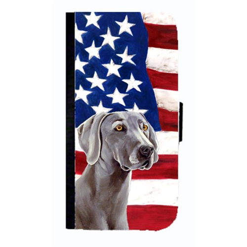 Carolines Treasures LH9001NBGALAXYS4 USA American Flag With Weimaraner Cell Phonebook Case Cover For Galaxy 4S