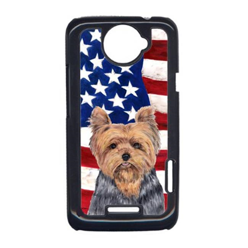 Carolines Treasures SC9111HTCONE USA American Flag With Yorkie HTC One X Cell Phone Cover