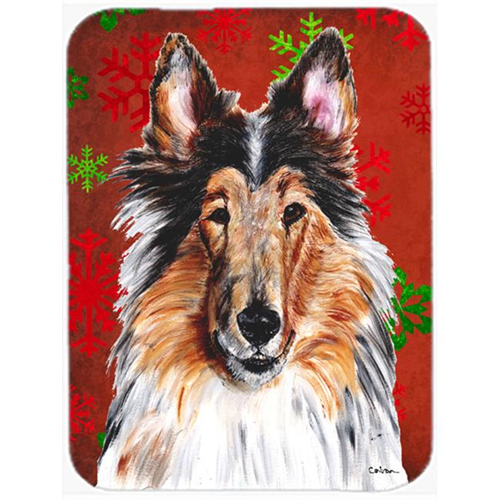 Carolines Treasures SC9742MP Collie Red Snowflakes Holiday Mouse Pad Hot Pad Or Trivet 7.75 x 9.25 In.