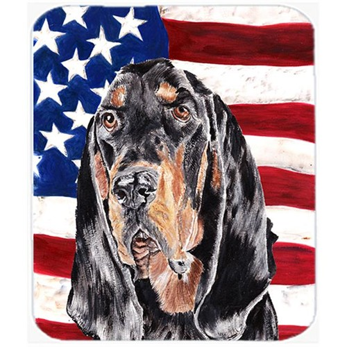 Carolines Treasures SC9511MP 7.75 x 9.25 In. Coonhound Black and Tan USA American Flag Mouse Pad Hot Pad or Trivet