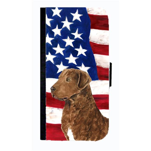 Carolines Treasures SS4016NBIP4 USA American Flag Curly Coated Retriever Cell Phone Case Cover For Iphone 4 Or 4S