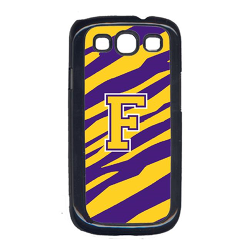 Carolines Treasures CJ1022-F-GALAXYSIII Tiger Stripe - Purple Gold Letter F Monogram Initial Galaxy S111 Cell Phone Cover