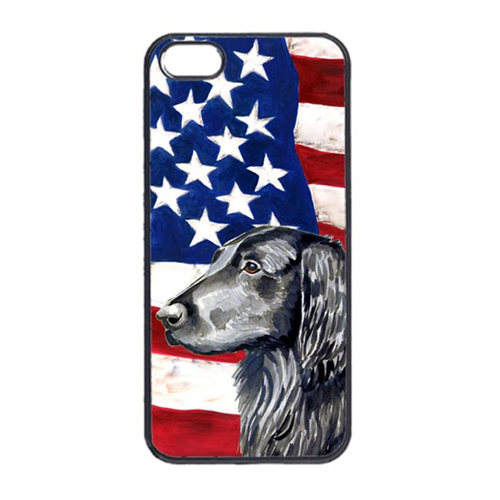 Carolines Treasures LH9021IP4 USA American Flag With Flat Coated Retriever Iphone 4 Cover