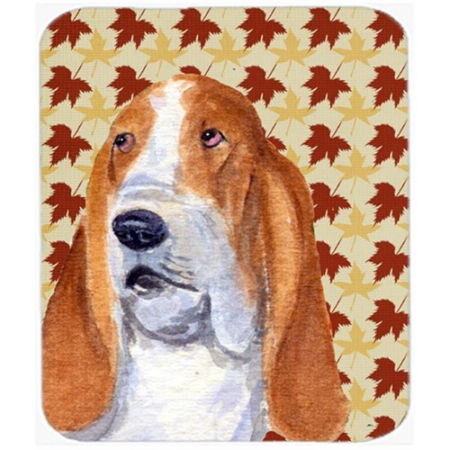 Carolines Treasures SS4328MP Bulldog English Fall Leaves Portrait Mouse Pad Hot Pad Or Trivet