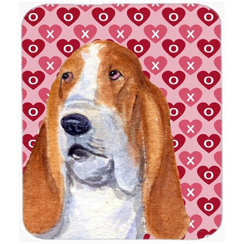 Carolines Treasures SS4528MP Basset Hound Hearts Love And Valentines Day Mouse Pad Hot Pad Or Trivet