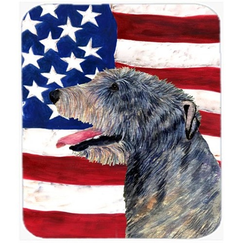 Carolines Treasures SS4033MP Usa American Flag With Irish Wolfhound Mouse Pad Hot Pad Or Trivet