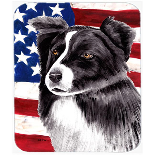 Carolines Treasures SC9009MP Usa American Flag With Border Collie Mouse Pad Hot Pad Or Trivet