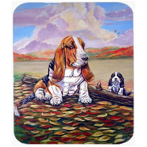 Carolines Treasures 7004MP 9.5 x 8 in. Basset Hound Little One Watching Mouse Pad Hot Pad or Trivet