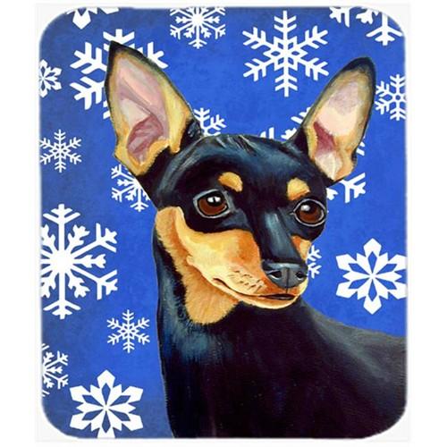 Carolines Treasures LH9290MP Min Pin Winter Snowflakes Holiday Mouse Pad Hot Pad Or Trivet