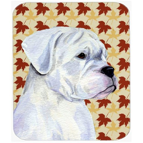 Carolines Treasures SS4347MP Boxer White Fall Leaves Portrait Mouse Pad Hot Pad Or Trivet