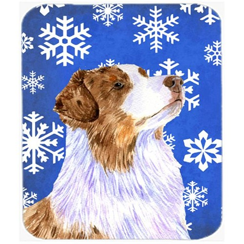 Carolines Treasures LH9273MP Australian Shepherd Winter Snowflakes Holiday Mouse Pad Hot Pad Or Trivet