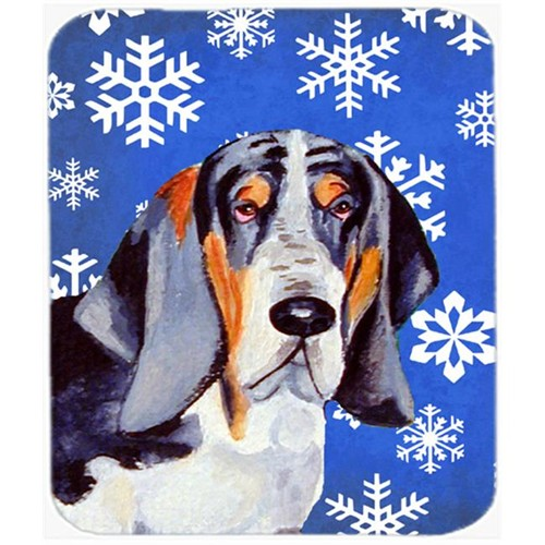 Carolines Treasures LH9282MP Basset Hound Winter Snowflakes Holiday Mouse Pad Hot Pad Or Trivet