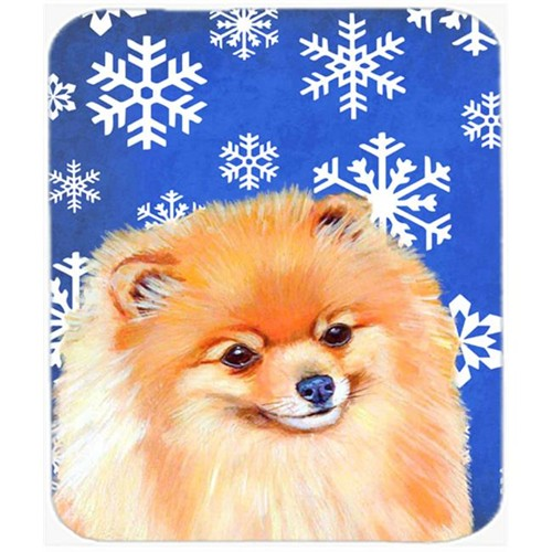 Carolines Treasures LH9305MP Pomeranian Winter Snowflakes Holiday Mouse Pad Hot Pad Or Trivet - 7.75 x 9.25 In.