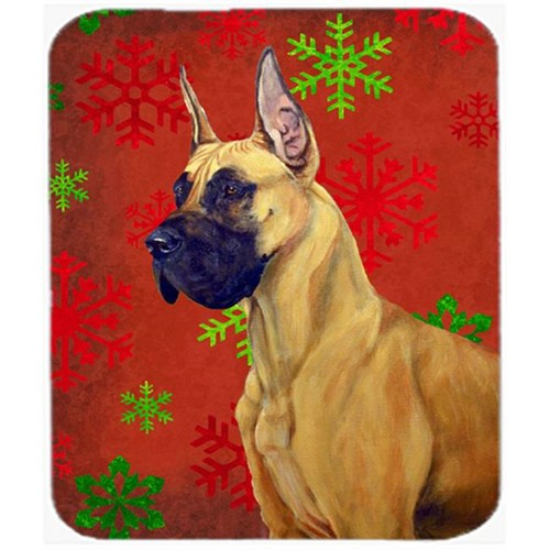 Carolines Treasures LH9310MP Great Dane Red And Green Snowflakes Christmas Mouse Pad Hot Pad Or Trivet - 7.75 x 9.25 In.