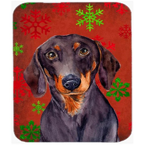 Carolines Treasures LH9313MP Dachshund Red And Green Snowflakes Christmas Mouse Pad Hot Pad Or Trivet - 7.75 x 9.25 In.