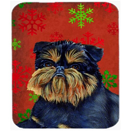 Carolines Treasures LH9343MP Brussels Griffon Red Green Snowflakes Christmas Mouse Pad Hot Pad Or Trivet - 7.75 x 9.25 In.