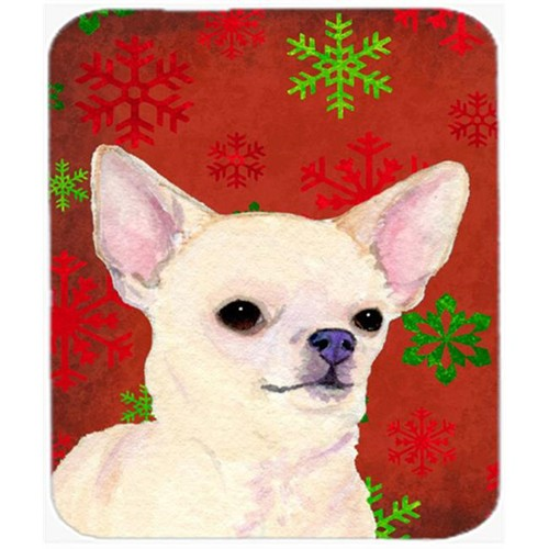Carolines Treasures SS4679MP Chihuahua Red and Green Snowflakes Christmas Mouse Pad Hot Pad or Trivet