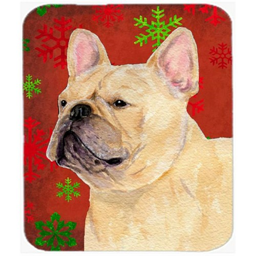 Carolines Treasures SS4692MP French Bulldog Red and Green Snowflakes Christmas Mouse Pad Hot Pad or Trivet