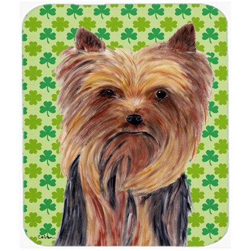 Carolines Treasures SC9285MP Yorkie St. Patricks Day Shamrock Portrait Mouse Pad Hot Pad or Trivet