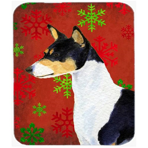 Carolines Treasures SS4721MP Basenji Red and Green Snowflakes Holiday Christmas Mouse Pad Hot Pad or Trivet