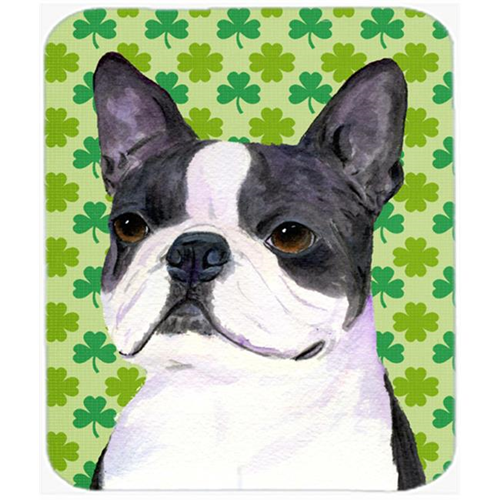 Carolines Treasures SS4447MP Boston Terrier St. Patricks Day Shamrock Portrait Mouse Pad Hot Pad Or Trivet