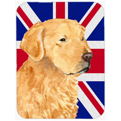 Carolines Treasures SS4918MP 7.75 x 9.25 In. Golden Retriever With English Union Jack British Flag Mouse Pad Hot Pad Or Trivet