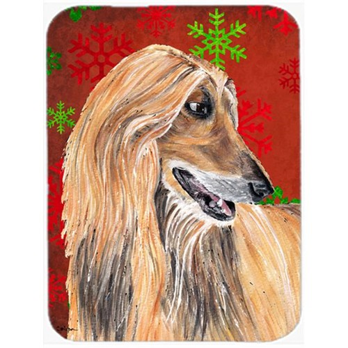 Carolines Treasures SC9501MP 7.75 x 9.25 In. Afghan Hound Red Snowflakes Holiday Christmas Mouse Pad Hot Pad Or Trivet