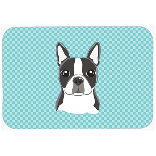 Carolines Treasures BB1141MP Checkerboard Blue Boston Terrier Mouse Pad Hot Pad Or Trivet 7.75 x 9.25 In.