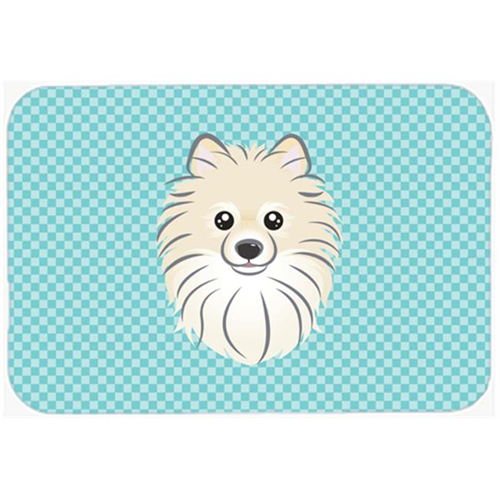 Carolines Treasures BB1145MP Checkerboard Blue Pomeranian Mouse Pad Hot Pad Or Trivet 7.75 x 9.25 In.