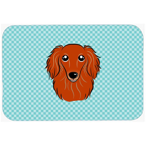 Carolines Treasures BB1152MP Checkerboard Blue Longhair Red Dachshund Mouse Pad Hot Pad Or Trivet 7.75 x 9.25 In.