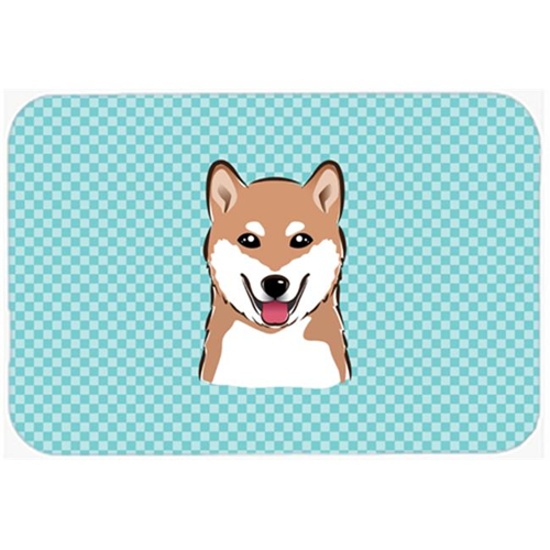 Carolines Treasures BB1163MP Checkerboard Blue Shiba Inu Mouse Pad Hot Pad Or Trivet 7.75 x 9.25 In.