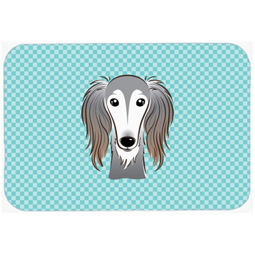 Carolines Treasures BB1167MP Checkerboard Blue Saluki Mouse Pad Hot Pad Or Trivet 7.75 x 9.25 In.