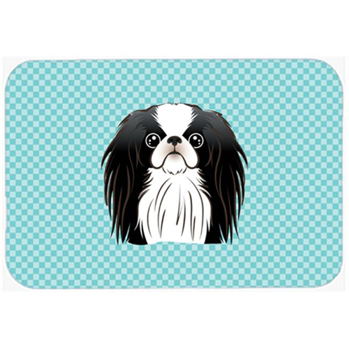 Carolines Treasures BB1168MP Checkerboard Blue Japanese Chin Mouse Pad Hot Pad Or Trivet 7.75 x 9.25 In.