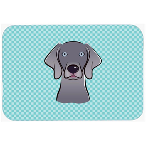 Carolines Treasures BB1169MP Checkerboard Blue Weimaraner Mouse Pad Hot Pad Or Trivet 7.75 x 9.25 In.