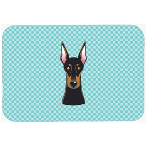 Carolines Treasures BB1183MP Checkerboard Blue Doberman Mouse Pad Hot Pad Or Trivet 7.75 x 9.25 In.