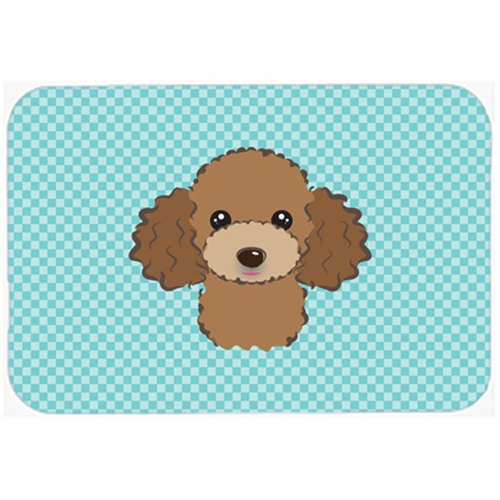 Carolines Treasures BB1194MP Checkerboard Blue Chocolate Brown Poodle Mouse Pad Hot Pad Or Trivet 7.75 x 9.25 In.