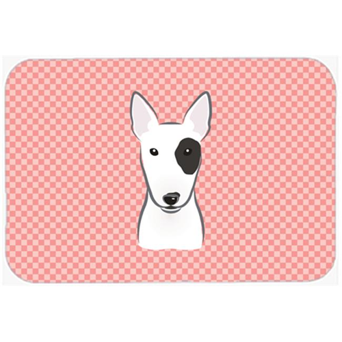 Carolines Treasures BB1209MP Checkerboard Pink Bull Terrier Mouse Pad Hot Pad Or Trivet 7.75 x 9.25 In.