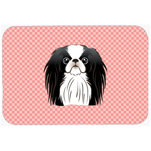 Carolines Treasures BB1230MP Checkerboard Pink Japanese Chin Mouse Pad Hot Pad Or Trivet 7.75 x 9.25 In.