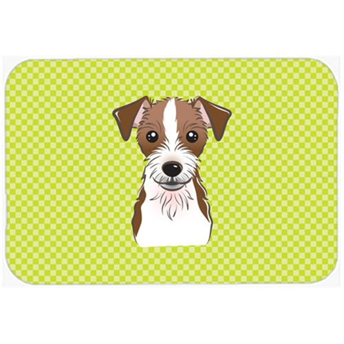 Carolines Treasures BB1264MP Checkerboard Lime Green Jack Russell Terrier Mouse Pad Hot Pad Or Trivet 7.75 x 9.25 In.