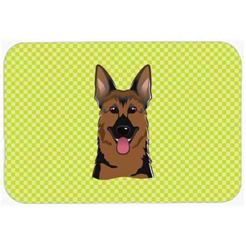 Carolines Treasures BB1273MP Checkerboard Lime Green German Shepherd Mouse Pad Hot Pad Or Trivet 7.75 x 9.25 In.