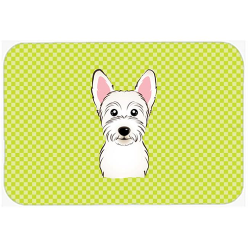 Carolines Treasures BB1288MP Checkerboard Lime Green Westie Mouse Pad Hot Pad Or Trivet 7.75 x 9.25 In.