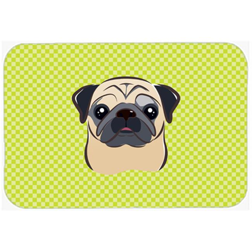 Carolines Treasures BB1324MP Checkerboard Lime Green Fawn Pug Mouse Pad Hot Pad Or Trivet 7.75 x 9.25 In.